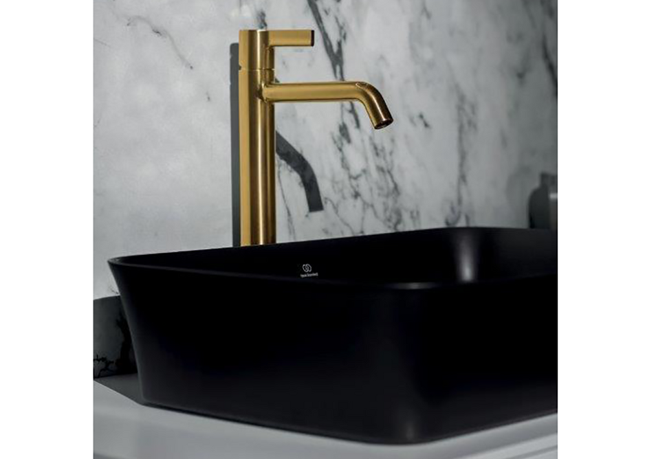 Ipalyss Vessel 55x38cm washbasin in Black Matt with Joy mixer tap in Brushed Gold.