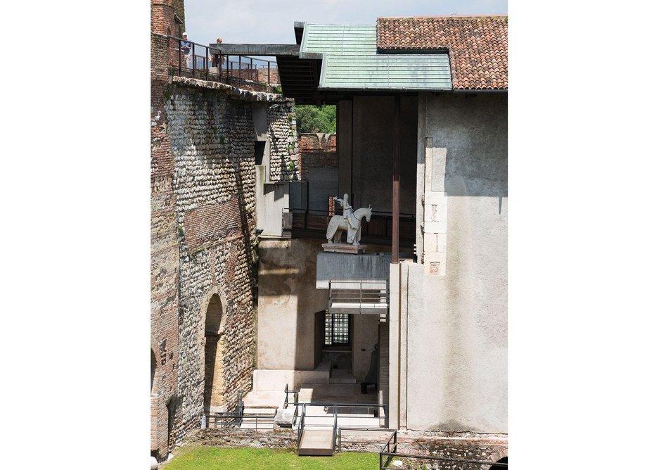 Scarpa's famous Cangrande space in the Castelvecchio.