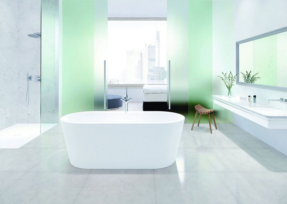 Kaldewei's Scona shower surface, Classic undercounter washbasin and freestanding Meisterstück Classic Duo Oval bath.