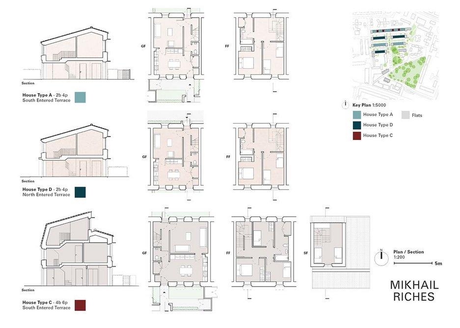 The corner blocks of flats showing front door access.