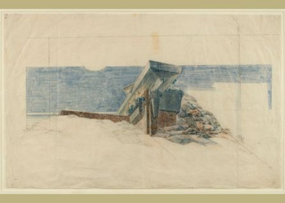 Frank Lloyd Wright's 1940 Drawing for the 'Eaglefeather' estate for Arch Oboler in the Santa Monica Mountains.