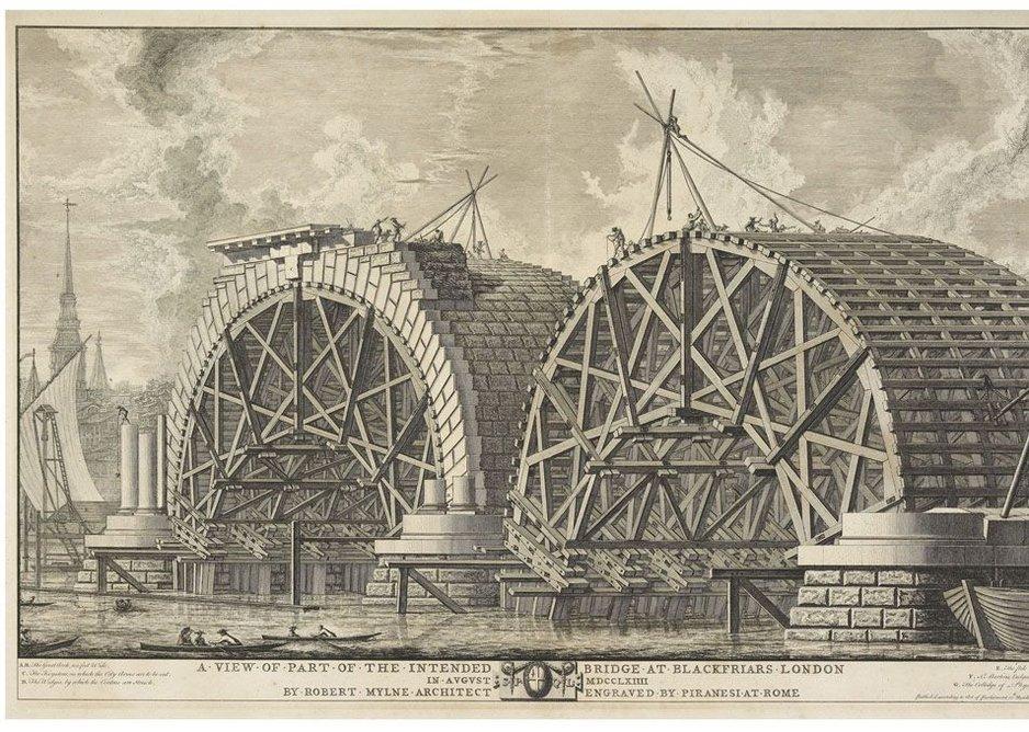 Giovanni Battista Piranesi - View of the building in progress at Blackfriars Bridge.