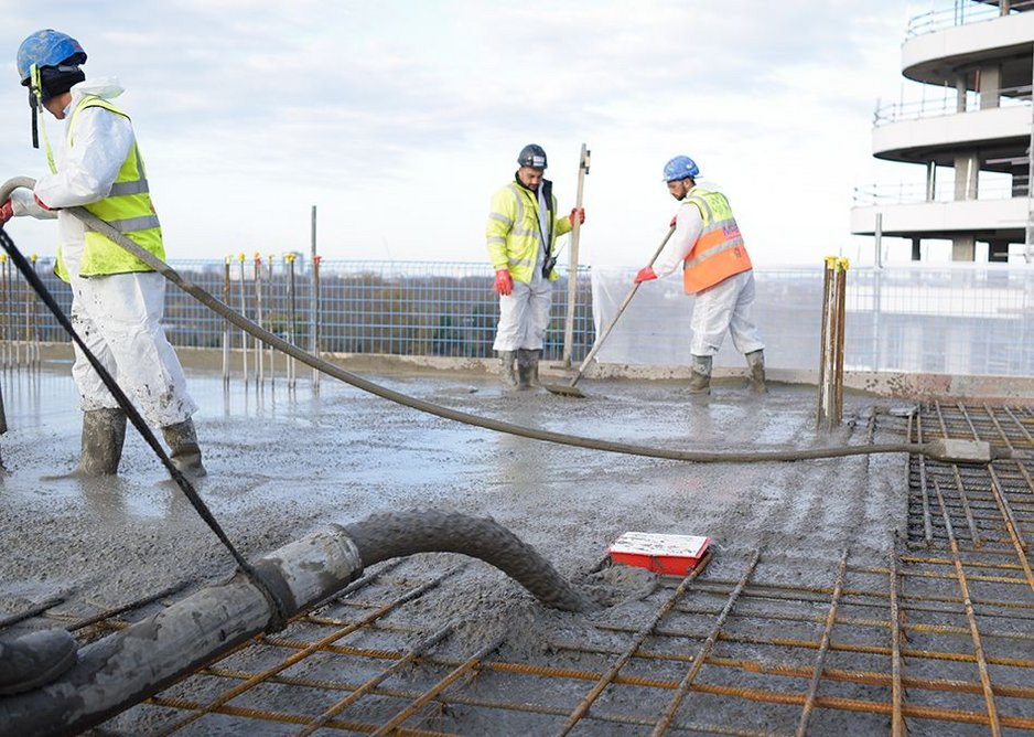 Casting the slab and sleeve in place at Vista.