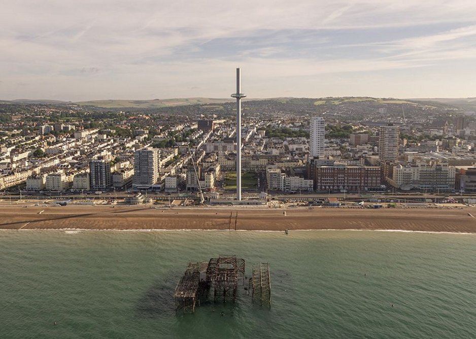 Seagull's eye view shows the relationship with the city and the remains of the old West Pier.