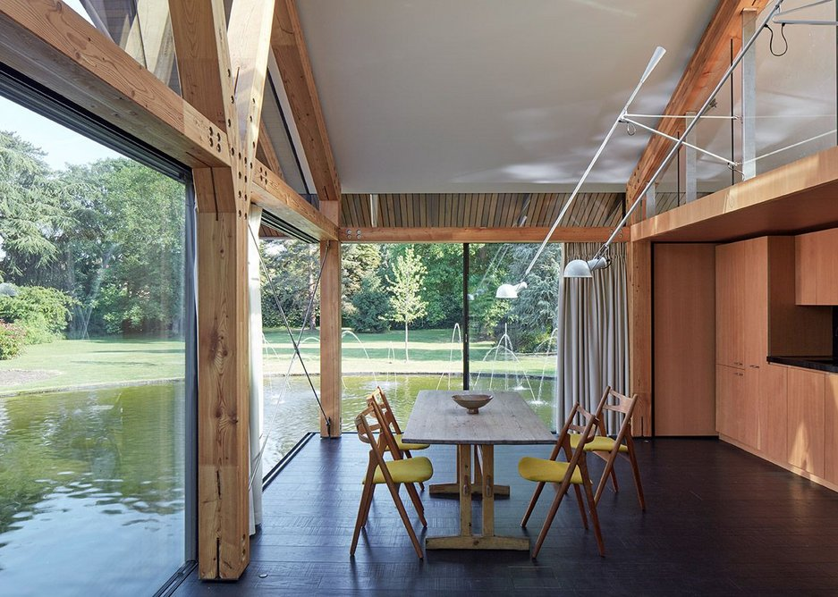 Clerestory windows in the self contained guest suite that doubles as an outdoor den.