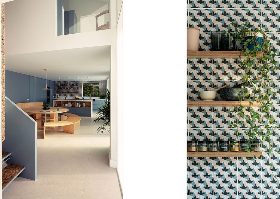 Open plan family kitchen space and detail of tiles. Smooth joinery and geometric tiling give a modern finish.