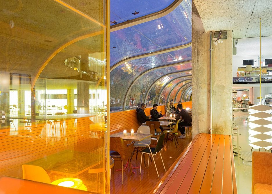 From the entrance open plan workspace segues sociably into the restaurant.