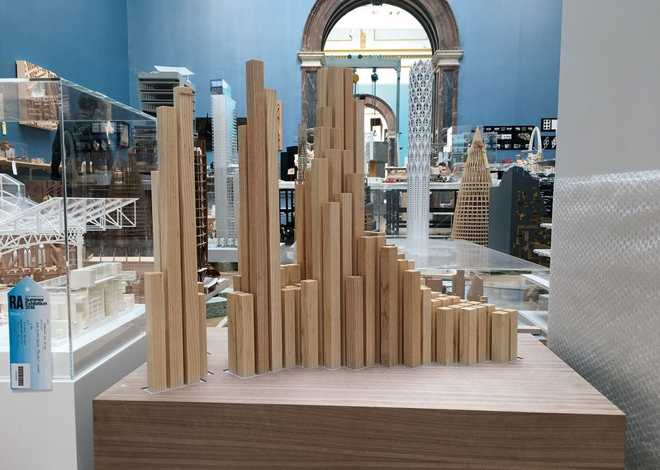 Installation shot of the architecture room with Study Model for a Hotel in the Middle East by Spencer de Grey of Foster + Partners in the foreground. Timber and acrylic, H 80cm.