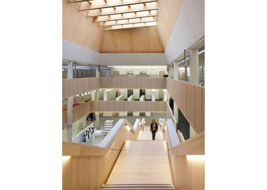 CLT is most visible in the ceiling structure of Feilden Clegg Bradley Studios' The Hive in Worcester.