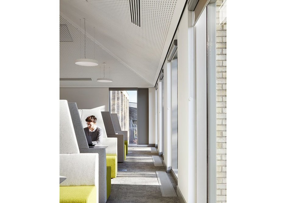 Freestanding study carrels on the second floor. Natural lighting and acoustics are excellent.