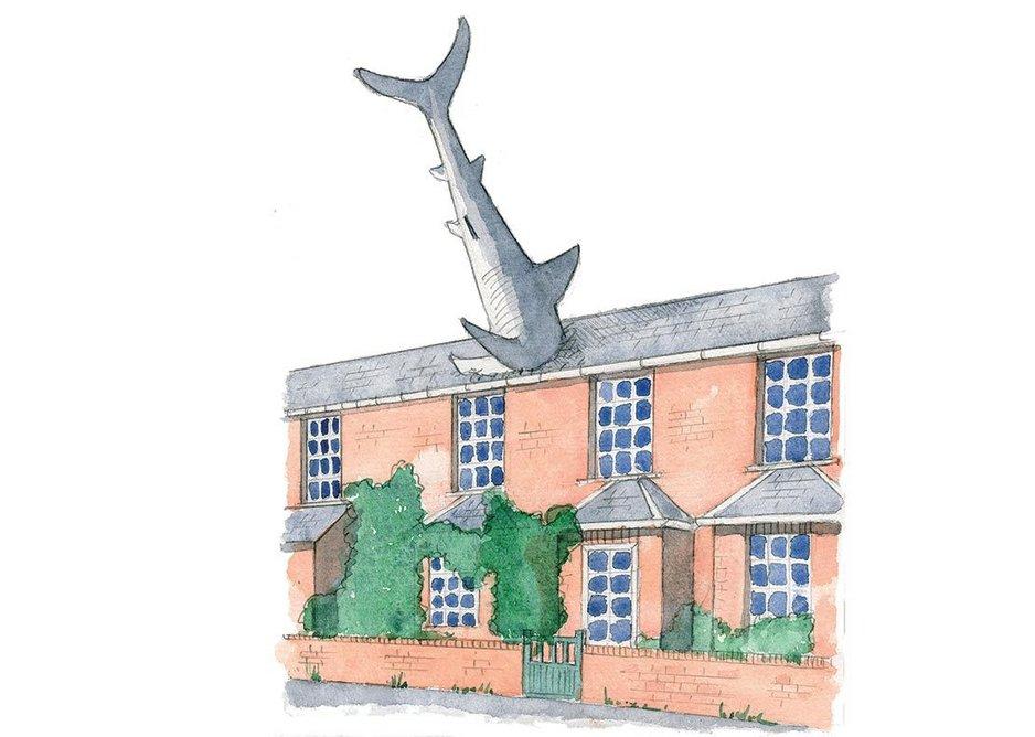 The Headington Shark, a 'post-modern folly' in Oxford. Sketch by Rory Fraser