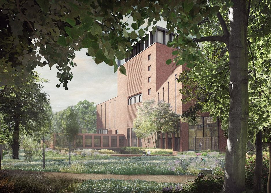 Perimeter building in excelsis: the proposed Lambeth Palace library at the end of the Archbishops' garden.