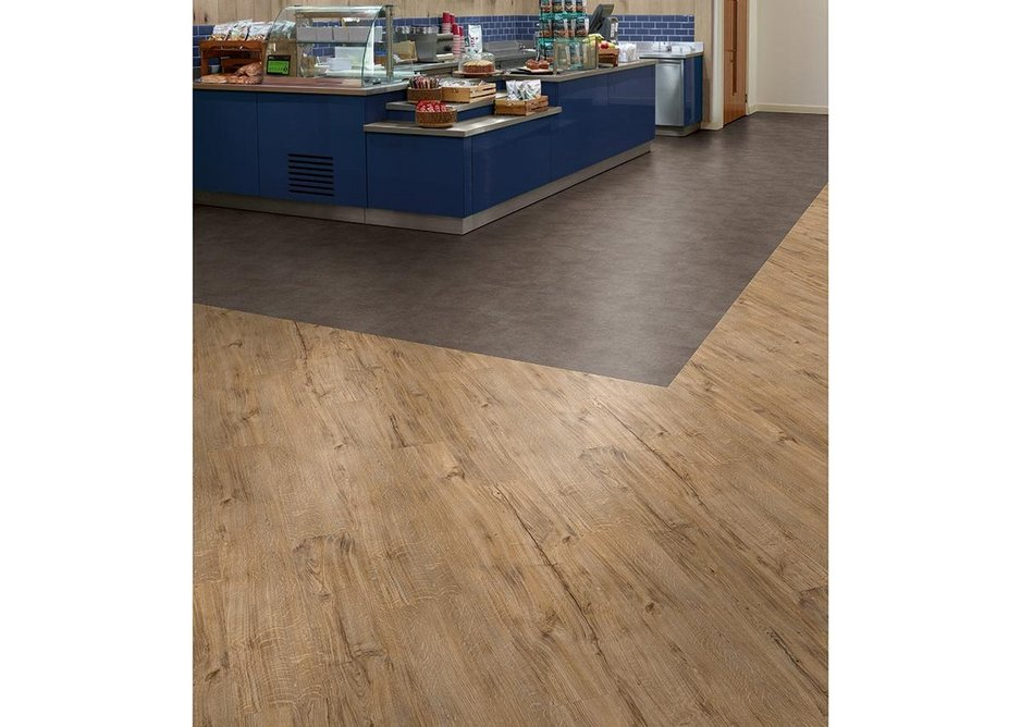 Stone-effect Ceramic Sable and wood-effect Featured Oak Spacia 36+ luxury vinyl tiles.