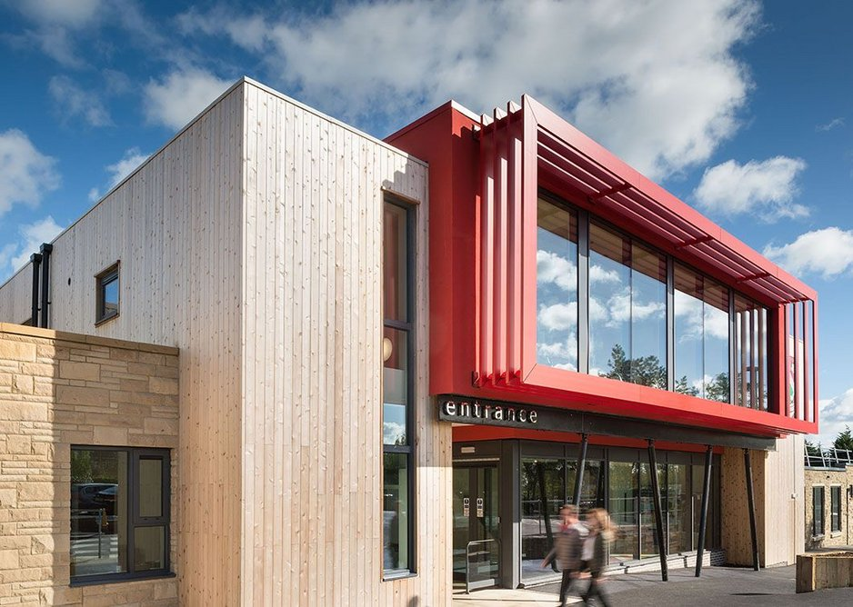 Ashville College Sports Centre, Harrogate, designed by DLG Architects. Modular construction enabled a quick build time within the school summer holidays.