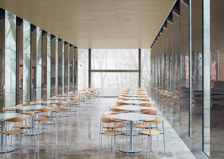 Mist and reflections as the stainless steel mullions (and sometimes columns) edge the cafe.