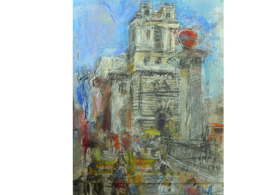 St Mary Woolnoth pastel on paper.