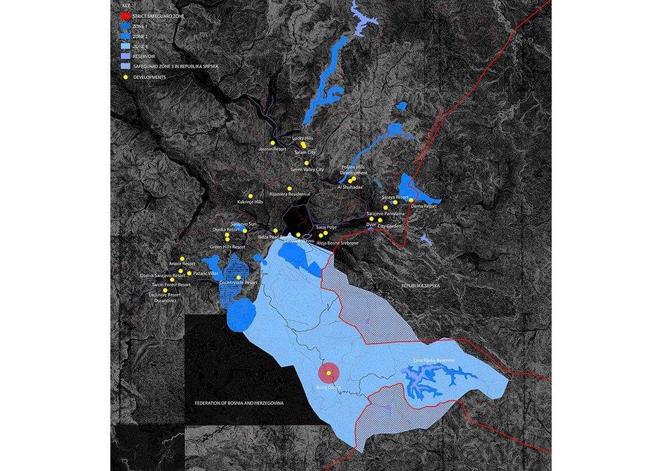 """Map illustrating position of Buroj Ozone development in relation to the Safeguard Zones in """"Sarajevsko polje"""" basin as per Spatial Plan for Sarajevo Canton 2003-2023 from 2006."""