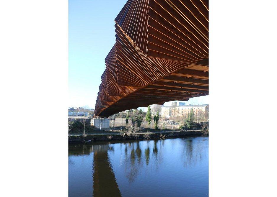 Just installed, its sculptural Corten footbridge over the Aire in Leeds. Credit Gagarin Studio