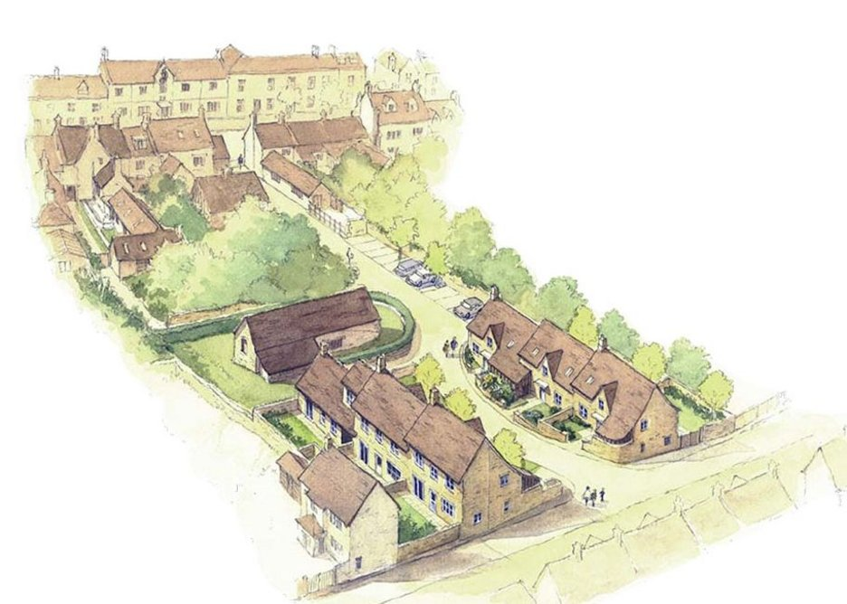 Planning drawing. The barn at the top of the site may now also be converted to homes. MacEwen Award shortlisted Sly's Close, Northleach, Gloucestershire. Mungo Park Architects