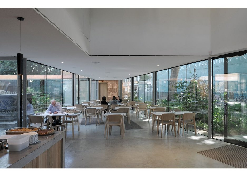 From inside the café appears as a slice into the Dan Pearson gardens.