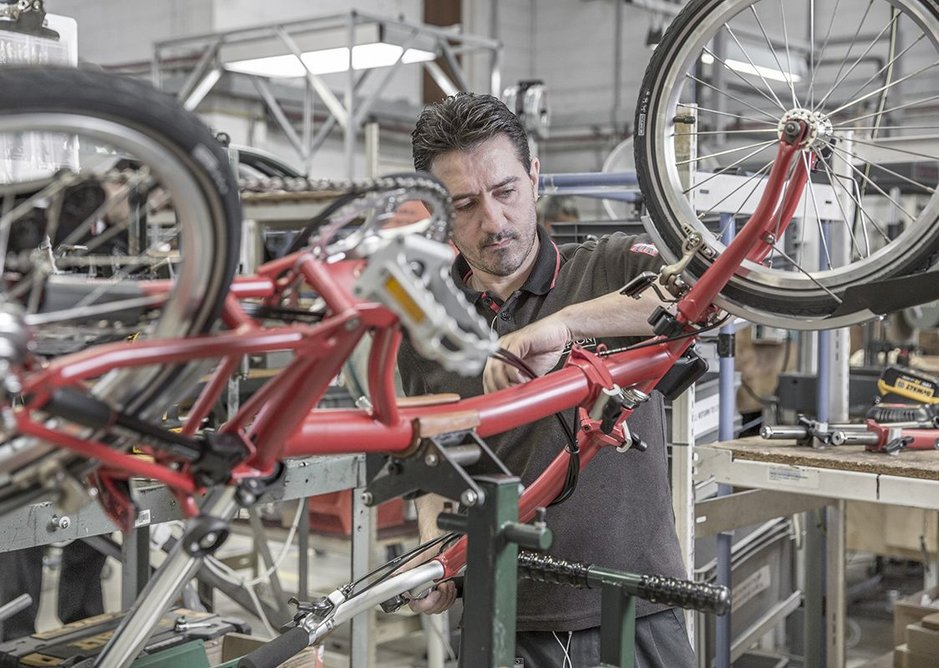 Inside the Brompton factory.
