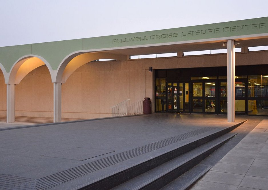 Ramp and raised plinth to leisure centre acts as outdoor stage.
