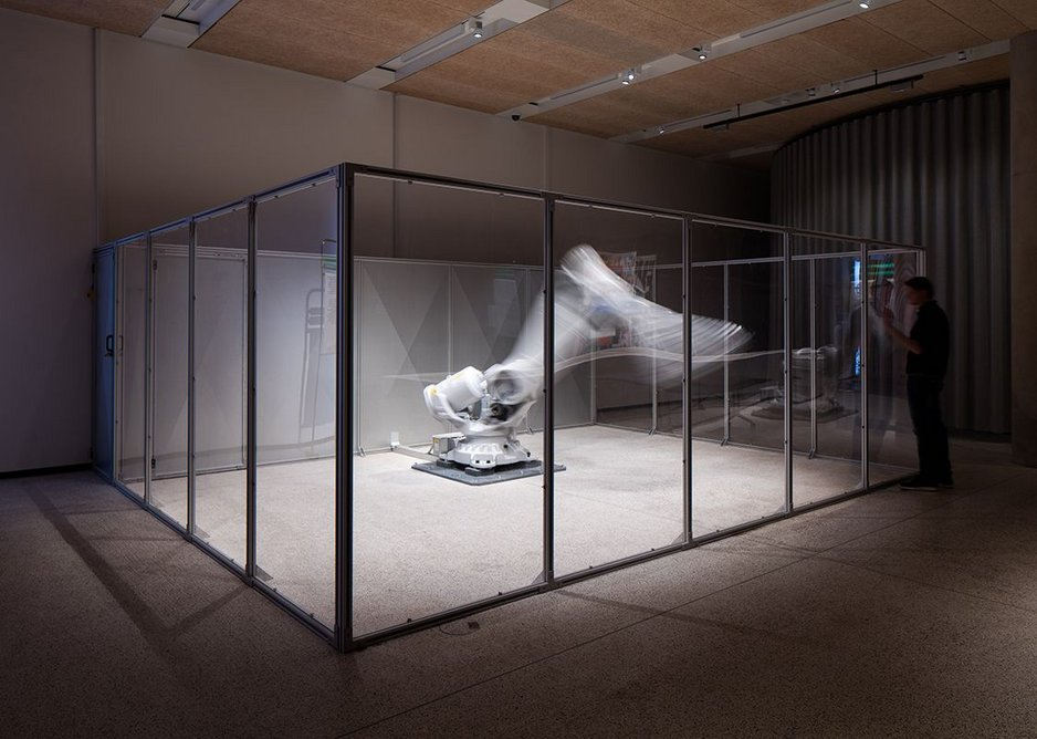 Fear and Love – Reactions to a Complex World. Mimus, by Madeline Gannon, is a robot reprogrammed to respond to people.