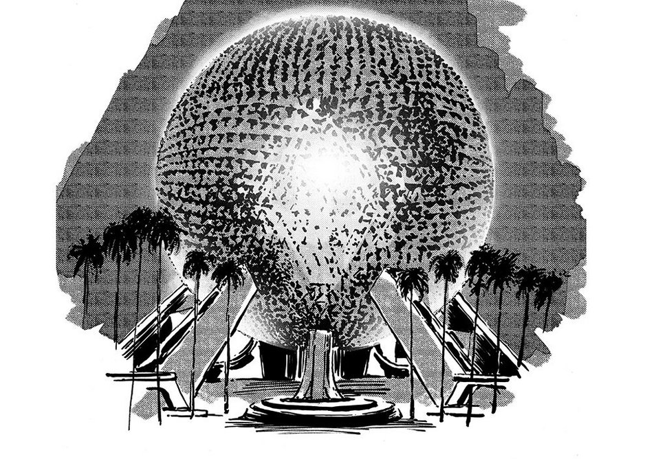 Geodesic Dome II – Spaceship Earth by Piotr Sell. Geodesic domes were a recurring theme in sci-fi imagery.