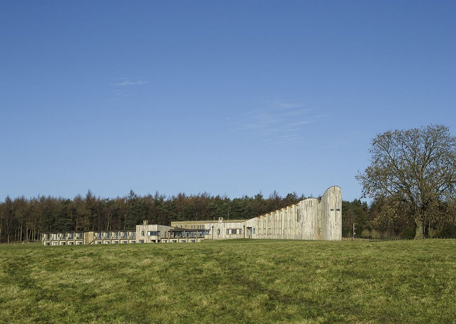 View of Stanbrook Abbey from south showing completed phases 1 and 2. Phase 3 will rise above the cells in the west wing.