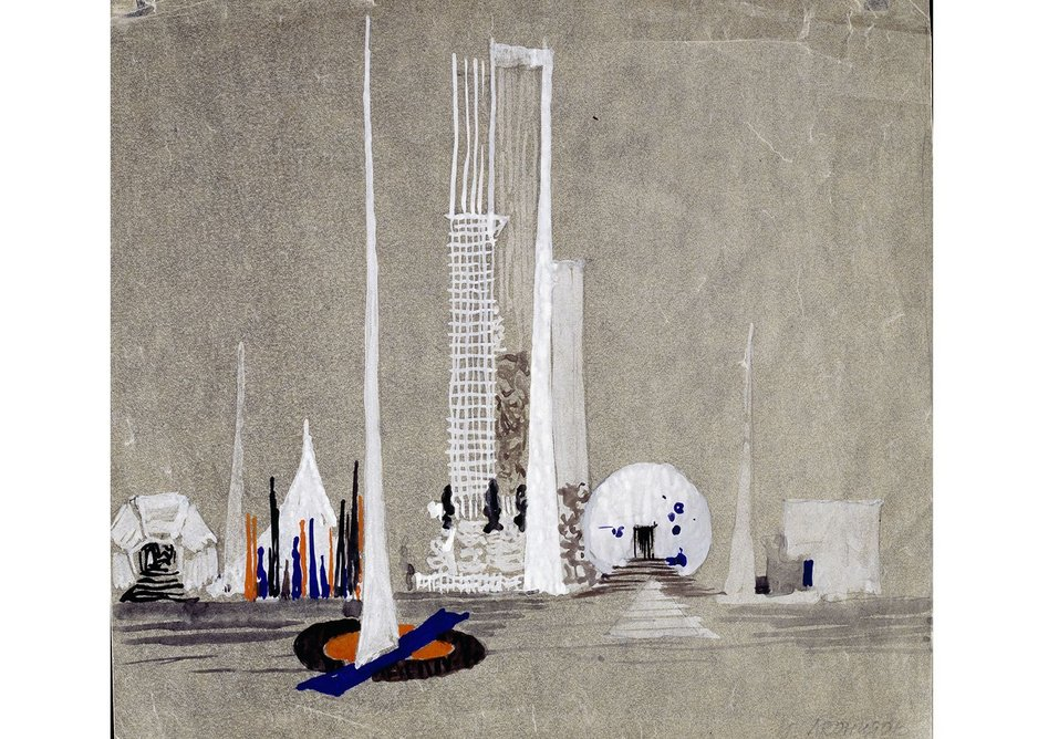 United Nations Building, 1947-48 by Ivan Leonidov.  Gouache, watercolour, pencil, tracing paper, white highlightings.