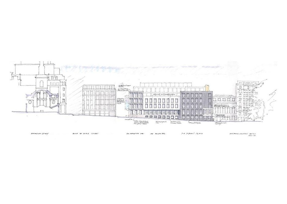 Sketch of the Duke of York Street elevation with St James' Church to the left and the square to the right