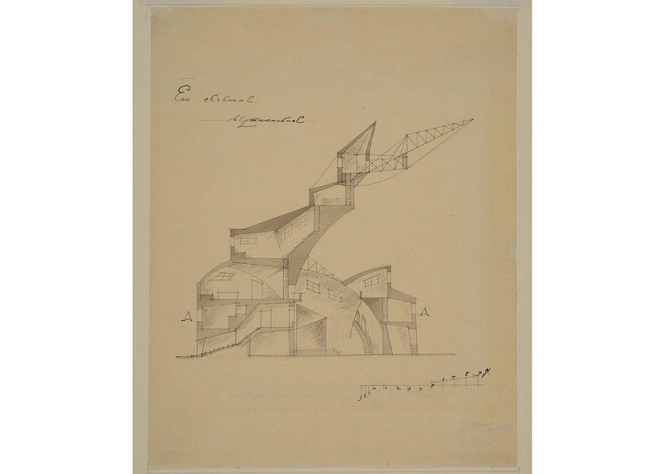Nikolay Ladovsky's Communal House (cropped), 1920.