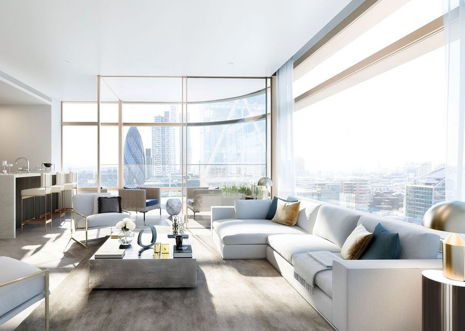 QIC Trims' concealed curtain solutions at a two-bedroom Principal Tower apartment.