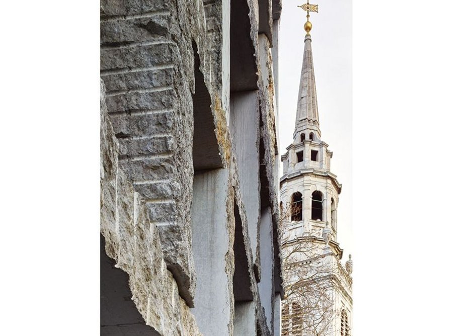 The detail of the south elevation with Clerkenwell's St James church beyond.