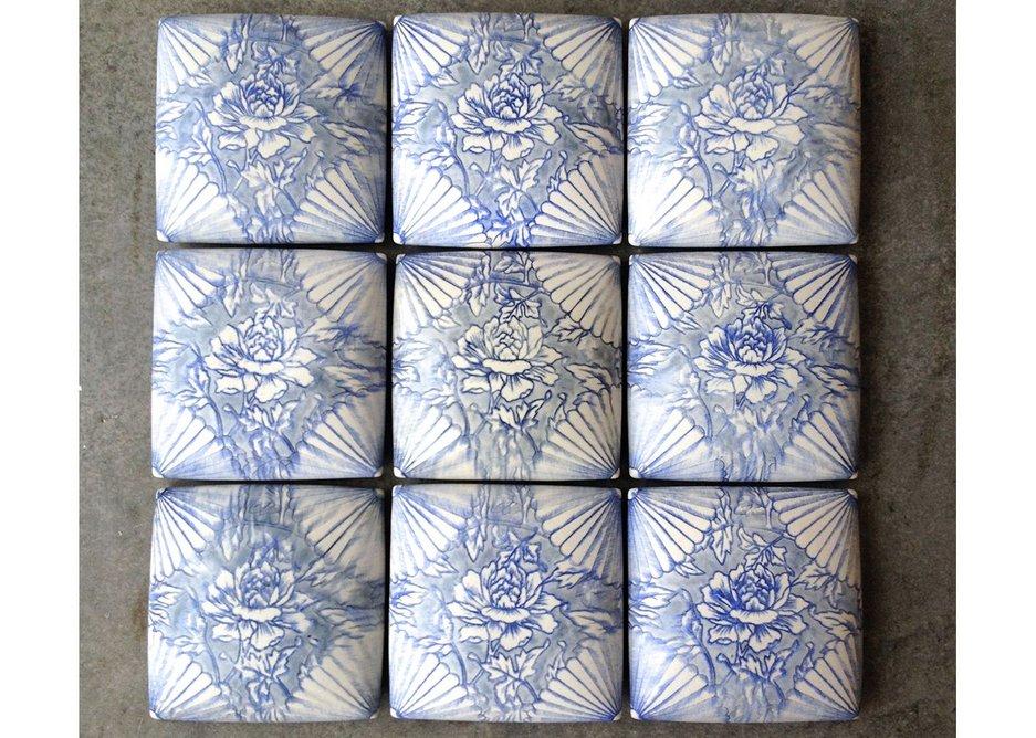Handpainted slipcast porcelain tiles – Giselle Hicks.