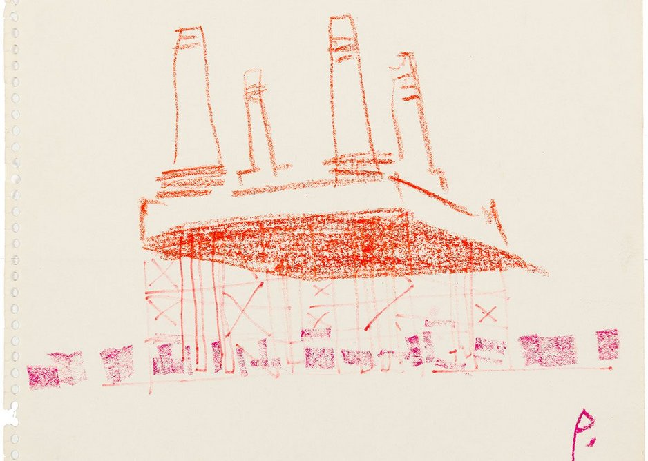 Cedric Price, sketch perspective for BatHat Battersea Power Station, 1991.