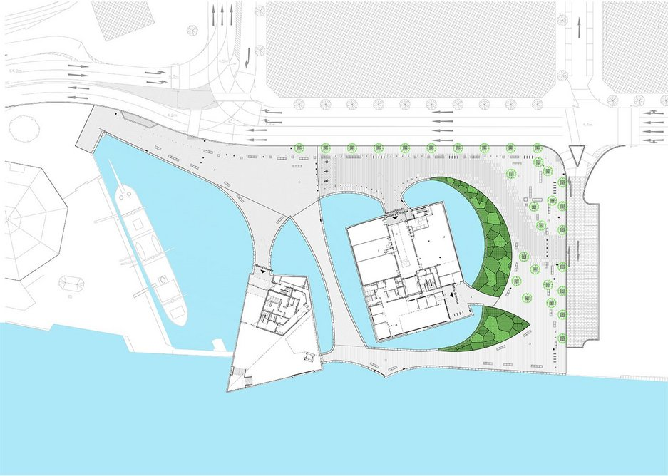 How the plan of the museum brings water back onshore.