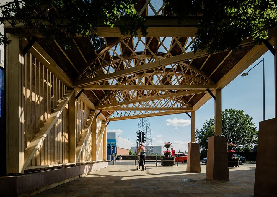 The pavilion acts as a portal on the Greenway pedestrian and cycle route.