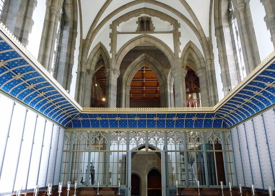 One they made earlier: chapel by Charles Nicholson and Ninian Comper, set lower than main church, is the 1948 section of the abandoned 1930s project.