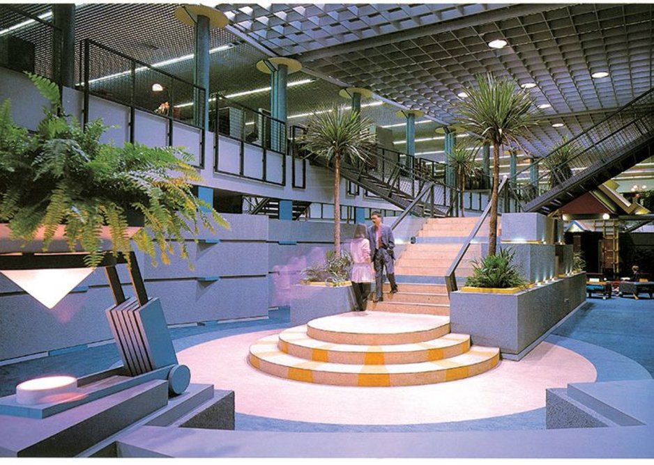 Terry Farrell & Partners, the exterior and interior of TV-am, Camden, London, 1983.