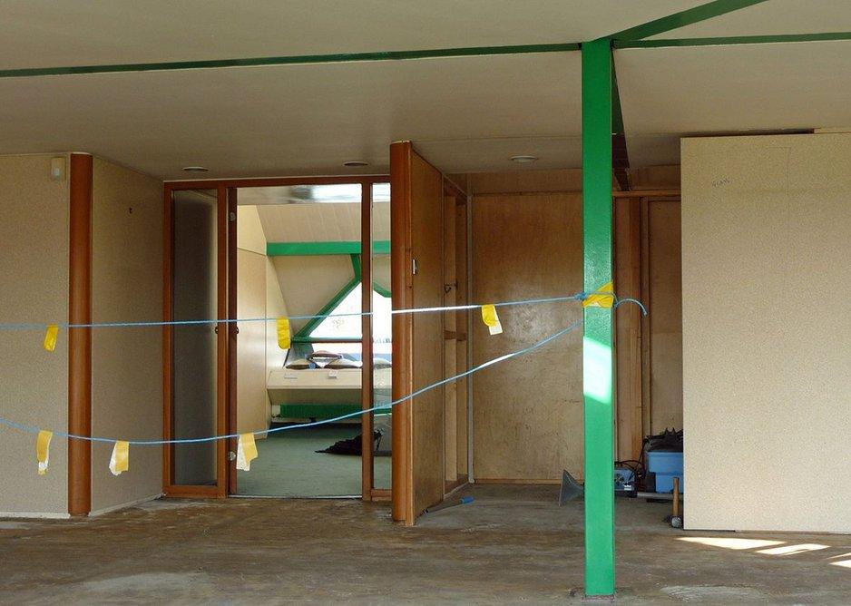 Surviving unpainted plywood details.