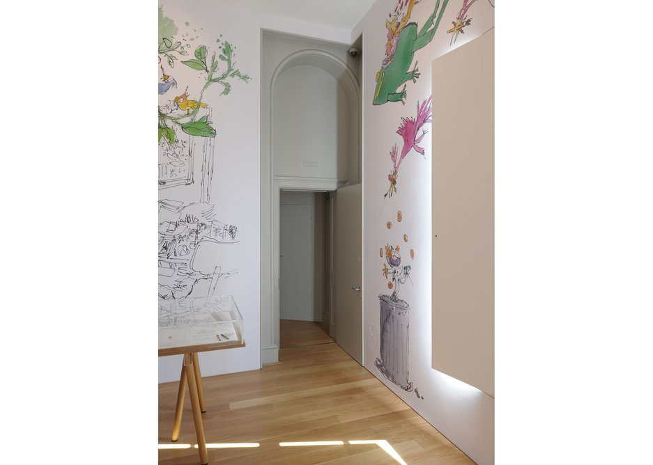 Quentin Blake drawings decorate gallery walls.
