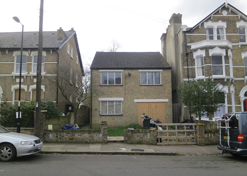 The front and rear elevations of the original 1950s home, built on a bomb site.