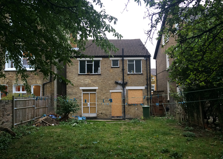 Rear elevation of the original 1950s home, built on a bomb site.