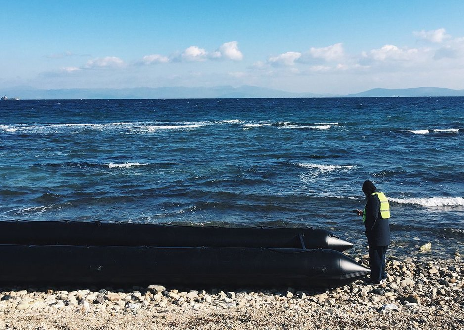 Artist response - Ai Wei Wei with refugee boat on Lesvos