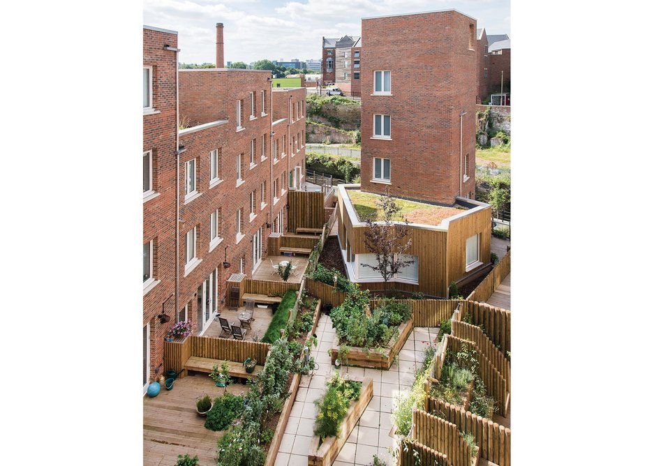 Ash Sakula's design prioritises communal spaces, gardens and allotments over private gardens.