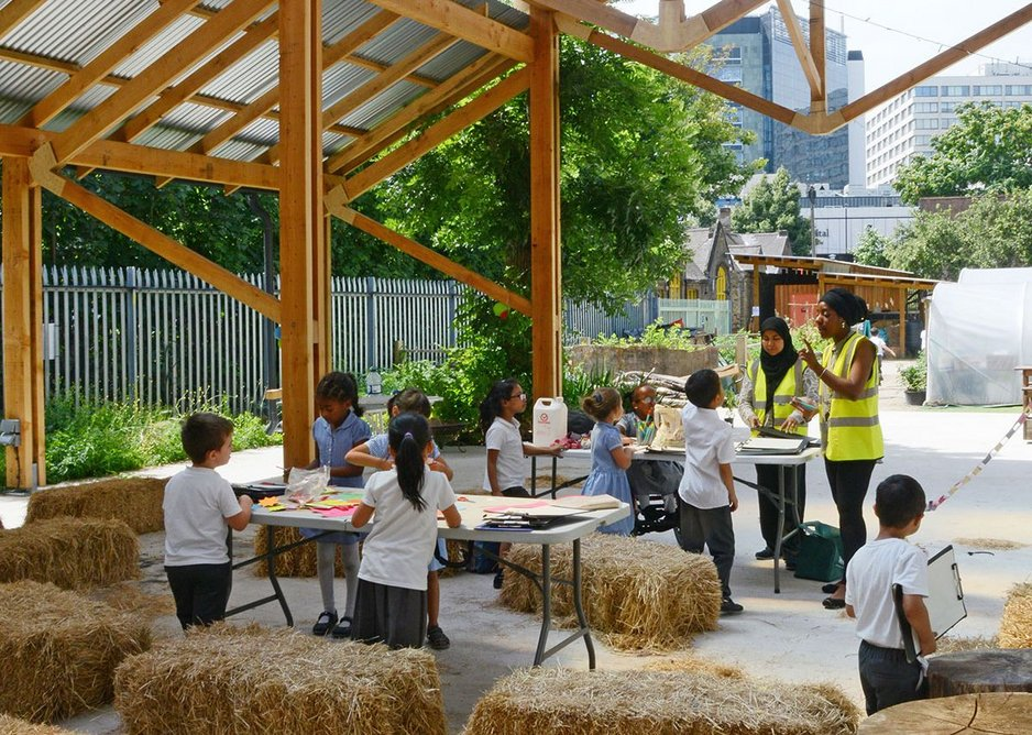 The character of this large covered space imbues events, whether education, community or fundraising with a sense of fun alongside the bales. MacEwen Award shortlisted Waterloo City Farm, Lambeth, London by Feilden Fowles Architects.