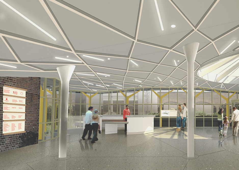 Illustration of the new reception area for the Museum of the Home. Courtesy of Wright & Wright Architects