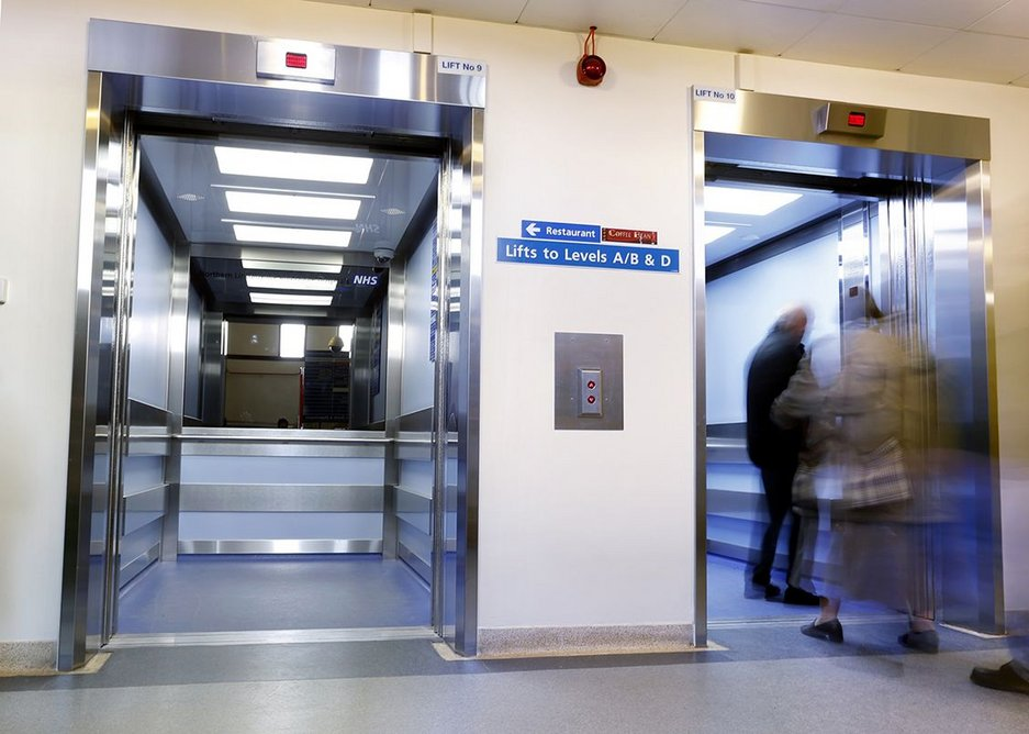 Newly installed Stannah lifts at a hospital in Scunthorpe.