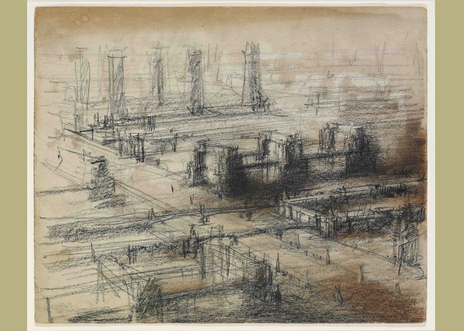 Yakov Chernikov, study of an urban ensemble from the series 'Palaces of Communism', Moscow circa 1935